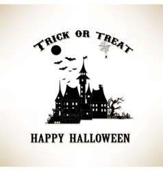 Trick or treat halloween castle with bat in the vector