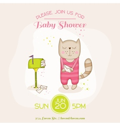 Baby Girl Cat with Mail - Baby Shower Card vector image