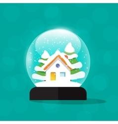 Snow globe house snowglobe home merry christmas vector