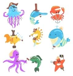 Marine Animals And Underwater Wildlife With Pirate vector image