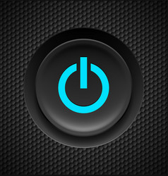Black button with blue power sign on carbon vector