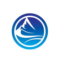 abstract circle mountain logo image vector image