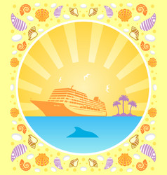 Background summer card with ship vector