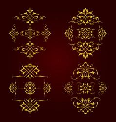 Golden calligraphic elements for design vector