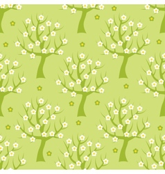 Seamless pattern with spring trees vector