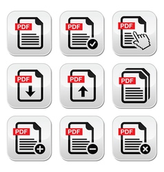 PDF download and upload buttons set vector image