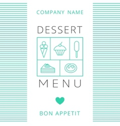 Dessert menu card design template vector