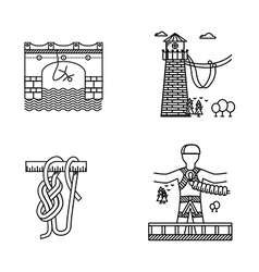 Black outline icons for rope jumping vector