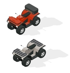 Quad bikes isometric icons set vector
