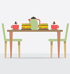 Flat design breakfast on table vector