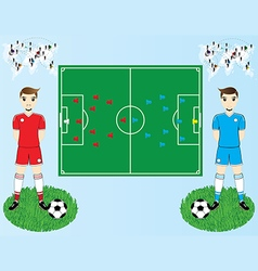 Soccer field and players vector