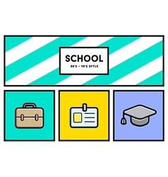 80s or 90s stylish school education icon set with vector