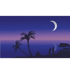 Summer holidays at night scenery silhouette vector