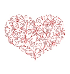 abstract floral heart vector image vector image