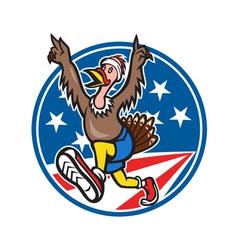 American turkey run runner cartoon vector