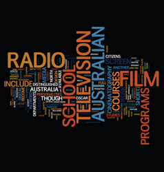 Australian film text background word cloud concept vector