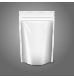 Blank white realistic plastic pouch with zipper vector