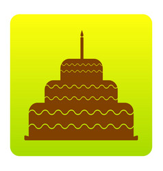 Cake with candle sign brown icon at green vector