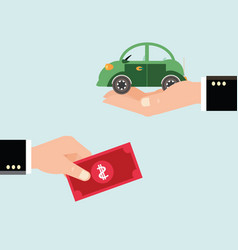 Car and dollar notes sitting on his hand vector