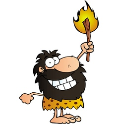 Caveman holding up a torch vector