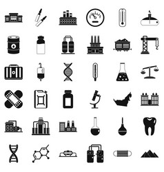 Chemical factory icons set simple style vector