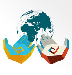 Concept of hands in colors of countries with globe vector