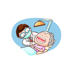 Dentist treat grandmother in the clinic vector