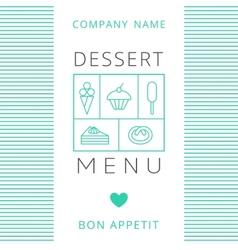 Dessert Menu Card Design template vector image
