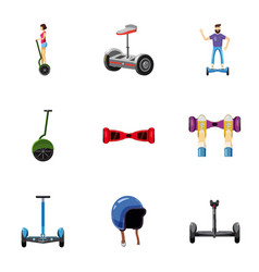 Different electric scooter icons set vector