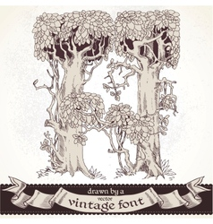 Fable forest hand drawn by a vintage font - h vector