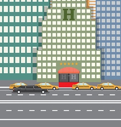 Flat design concept for City Hotel and parked taxi vector image