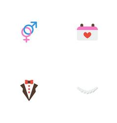 Flat icons sexuality symbol jewelry bridegroom vector