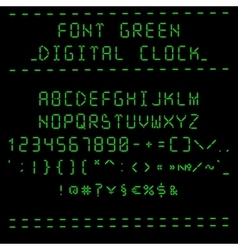 Font green digital clock vector