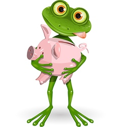 Frog with piggy bank vector