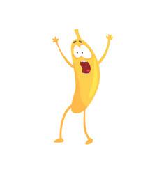 Funny frightened banana cartoon fruit character vector