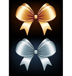 golden and silver bows vector image vector image