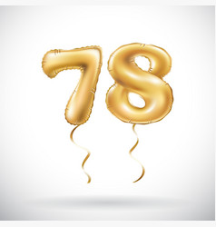 Golden number 78 seventy eight metallic balloon vector