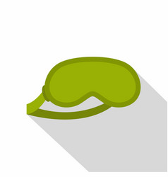 Green sleeping mask icon flat style vector