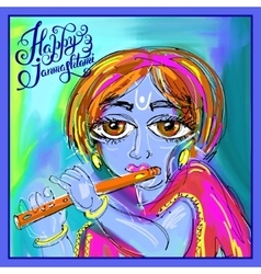Happy krishna janmashtami digital painting poster vector