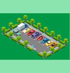 Isometric parking zone concept vector