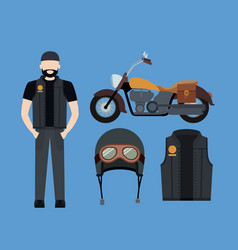 motorcyclist and classic yellow motorcycle with vector image