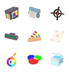 Printing icons set cartoon style vector