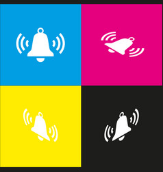 Ringing bell icon white icon with vector