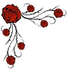 Roses and bush Corner Floral element vector image