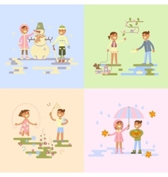 Set with babies vector image vector image