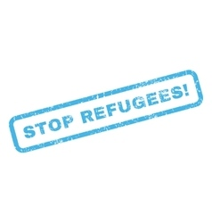 Stop refugees rubber stamp vector