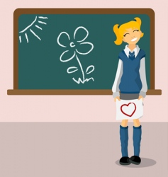 student with blackboard vector image vector image
