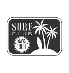 Surf club est 1969 logo template black and white vector
