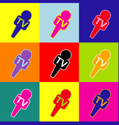 Tv microphone sign pop-art vector