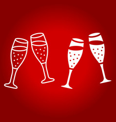 Two glasses of champagne line and glyph icon vector